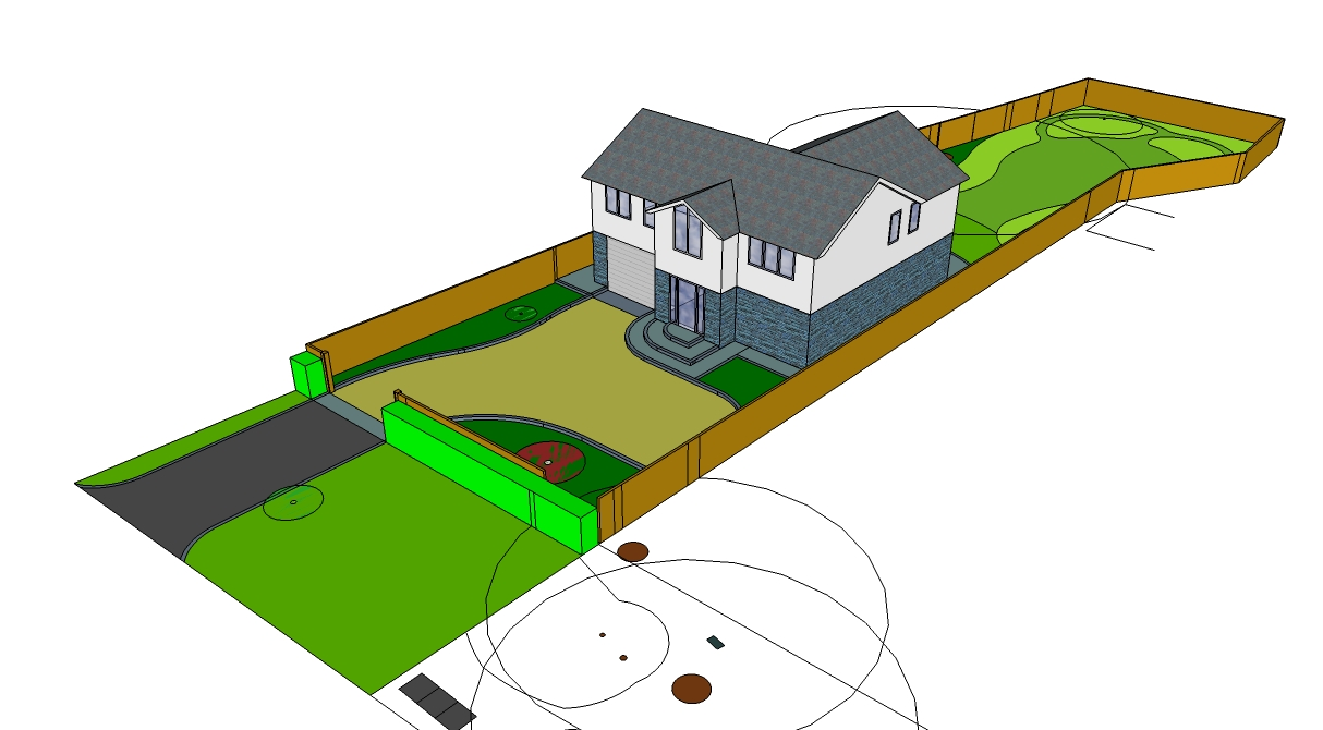 CAD visualisation of new build house and garden